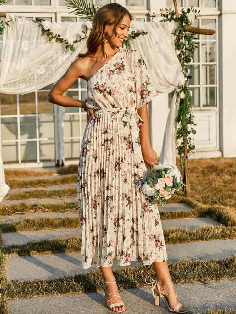 Floral Midi Wedding Guest Dress