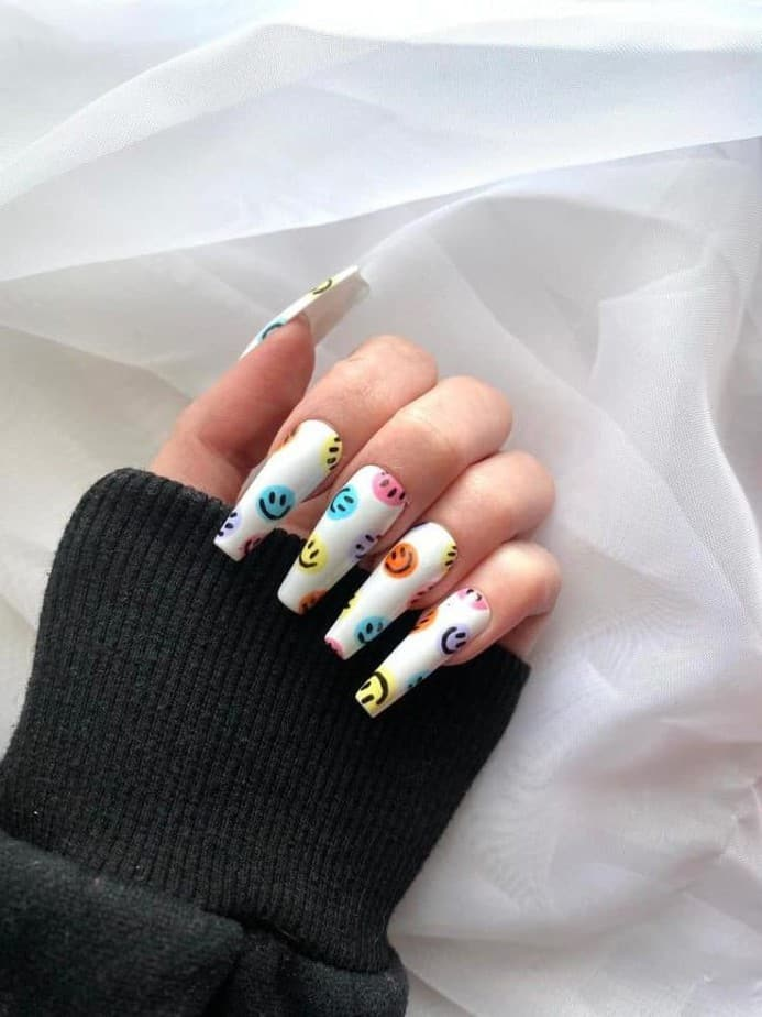 smiley face nails white