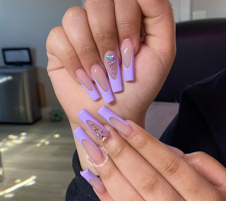 purple nails ideas french tip