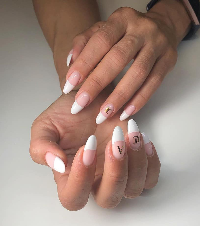 almond white french tip nails designs