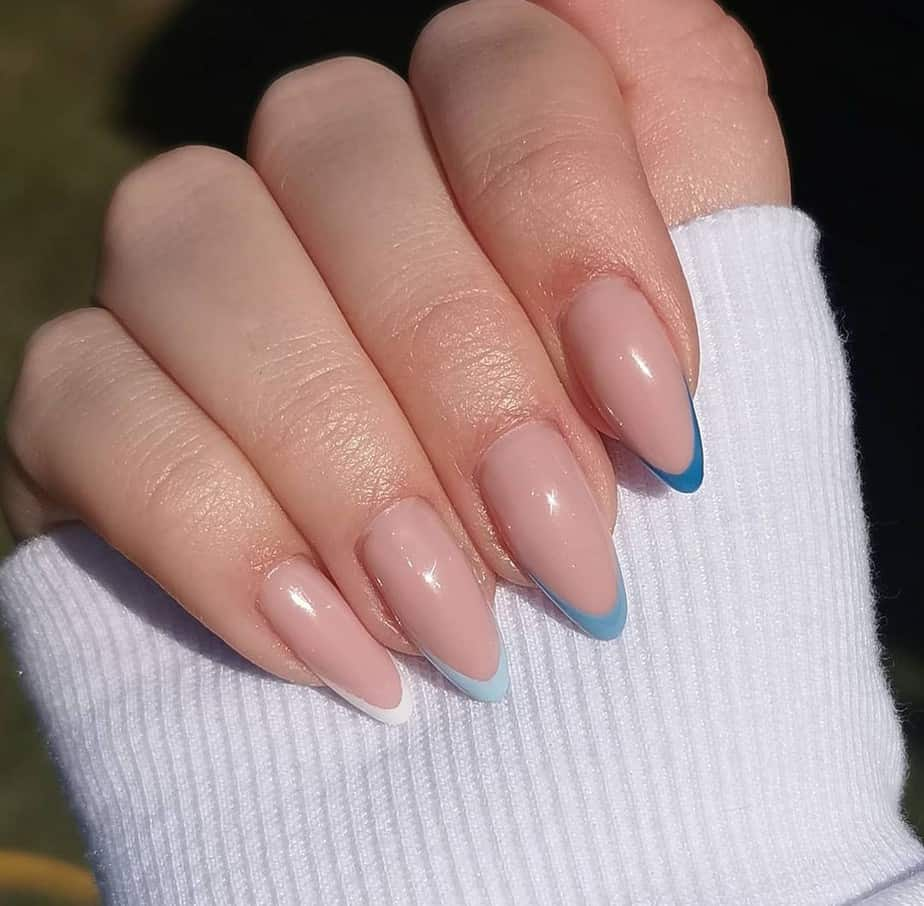 blue french tip nails designs