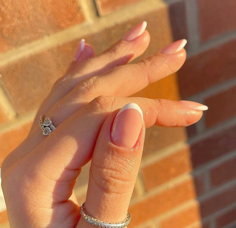 short almond french tip nails designs