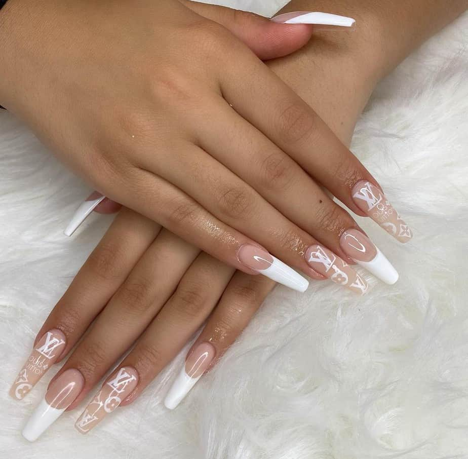 white french tip nails designs long