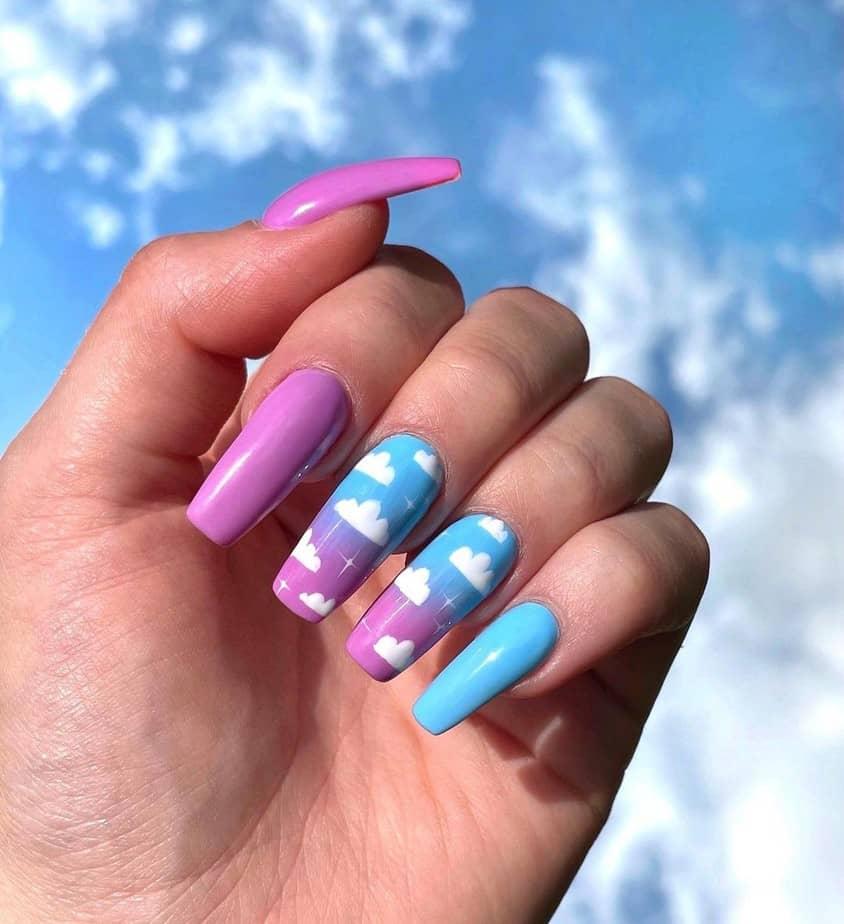 purple cloud nails aesthetic