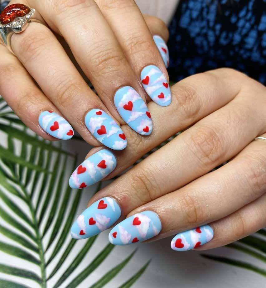 blue cloud nails cute