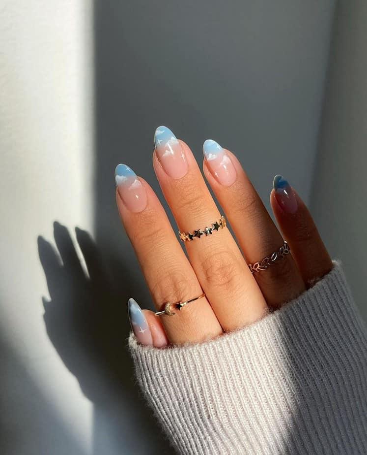 cloud nails acrylic blue