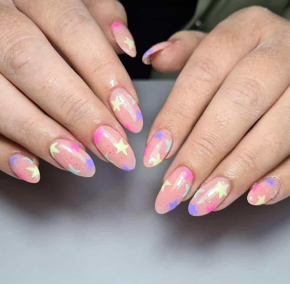 colorful star nail designs long