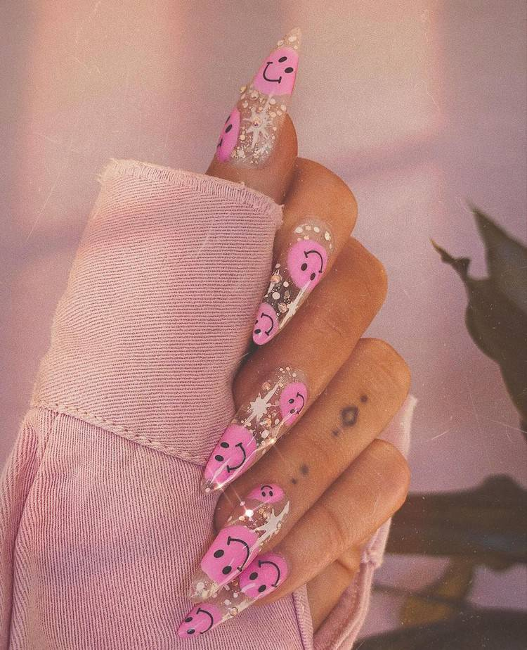 smiley face nails pink