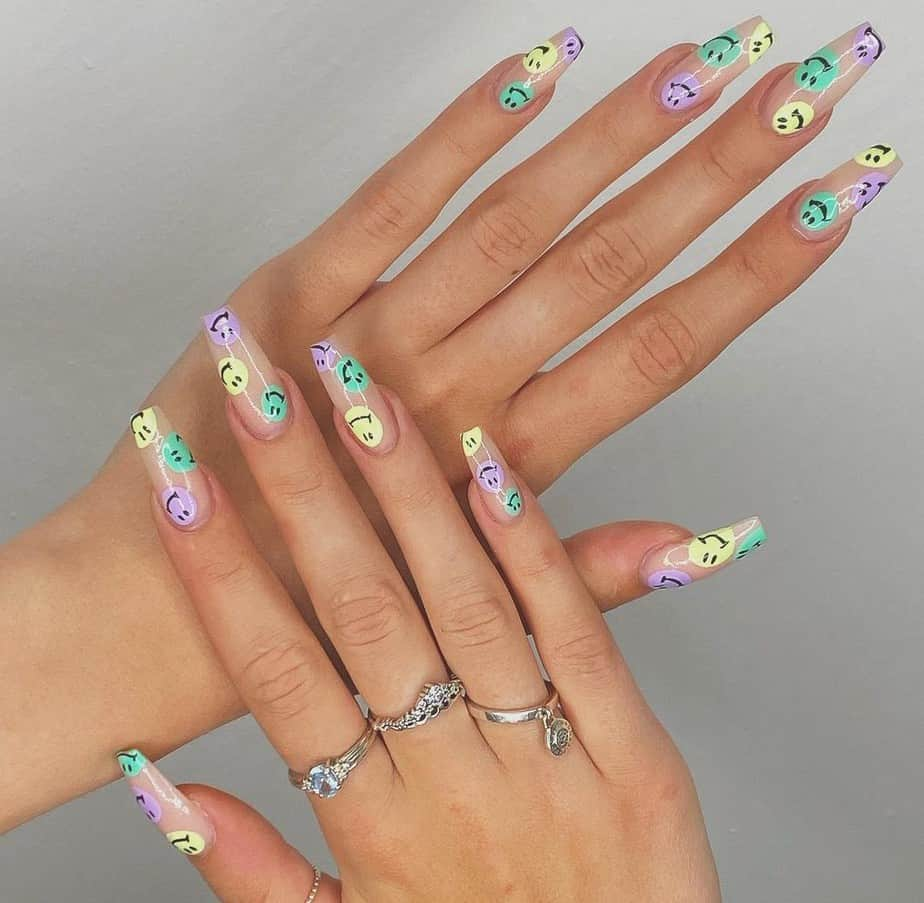 smiley face nails acrylic