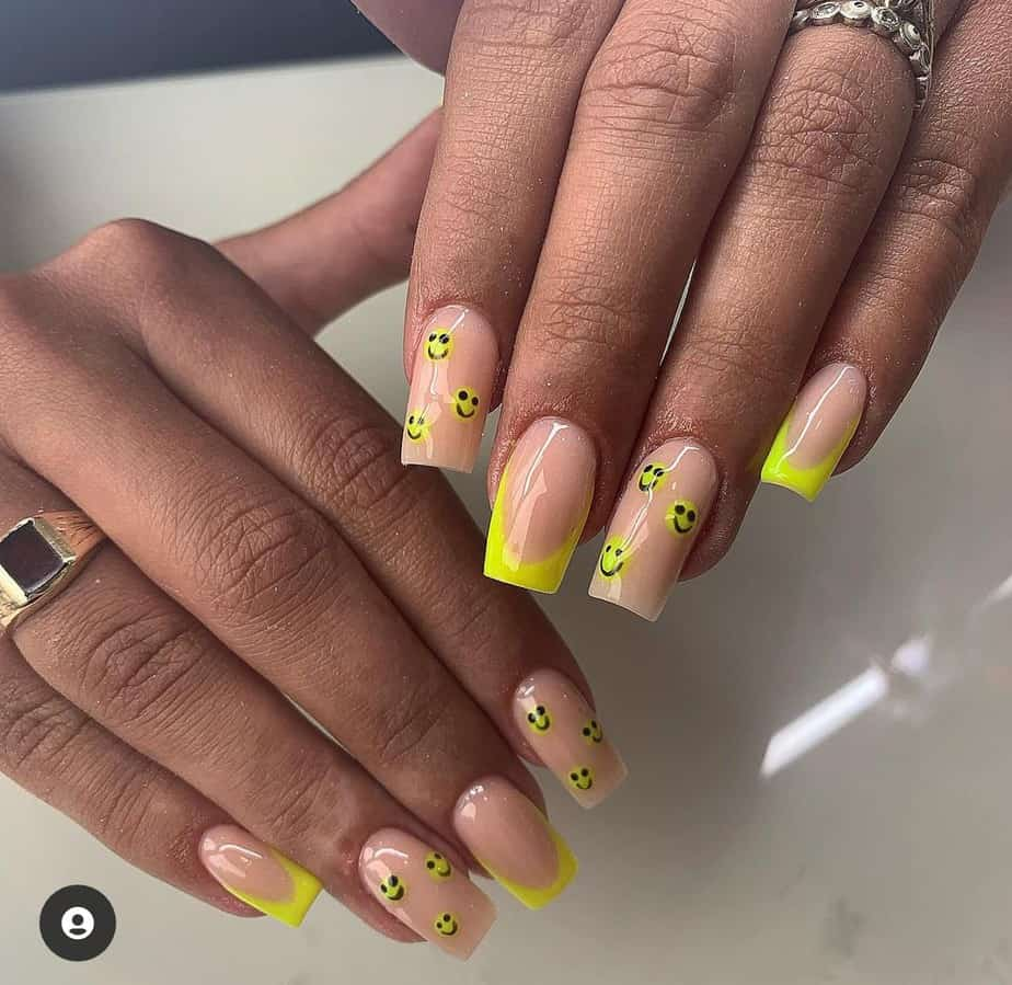 smiley face nails yellow