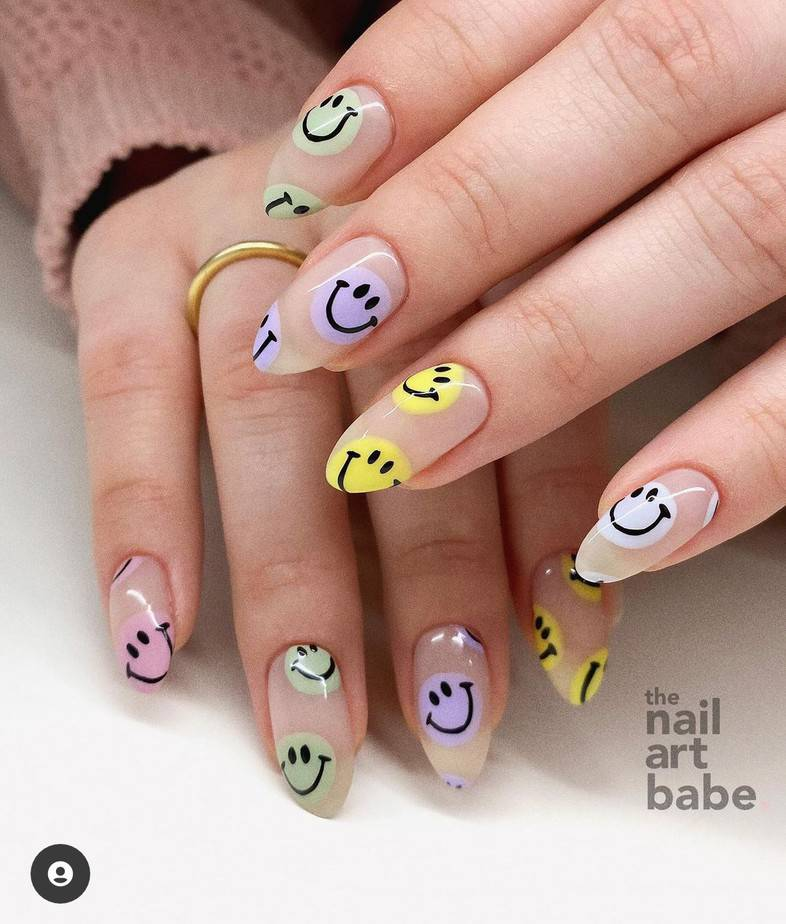 smiley face nails colorful