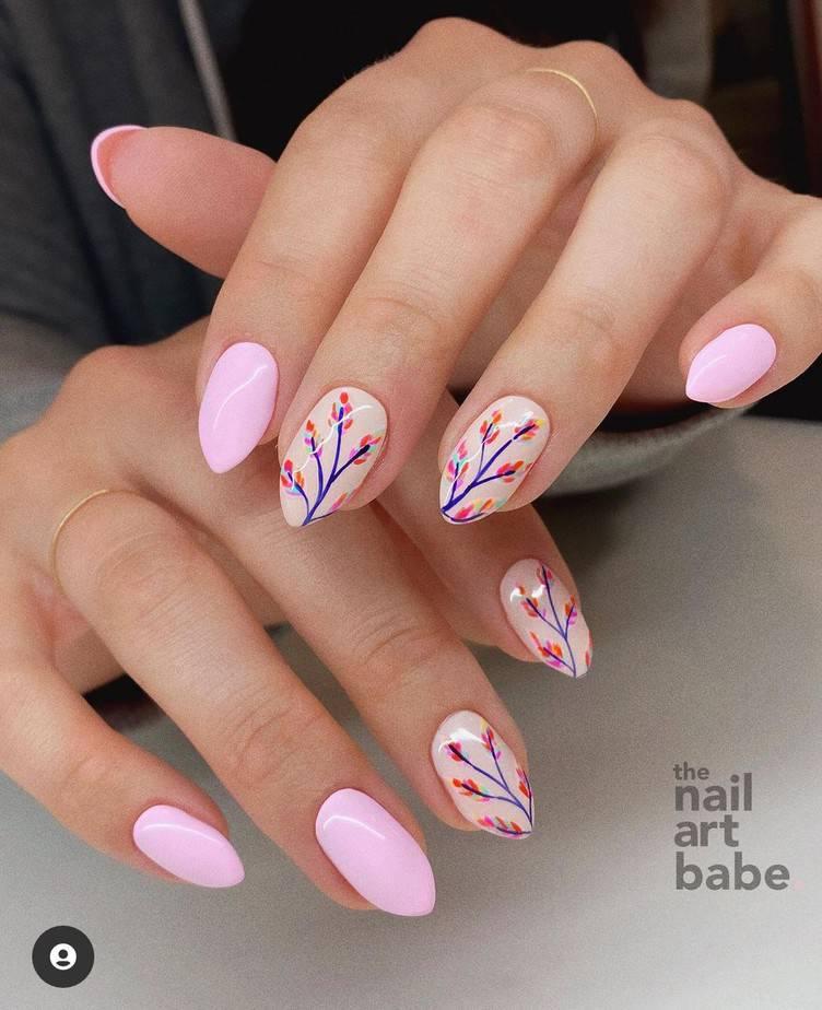 short spring flower nails