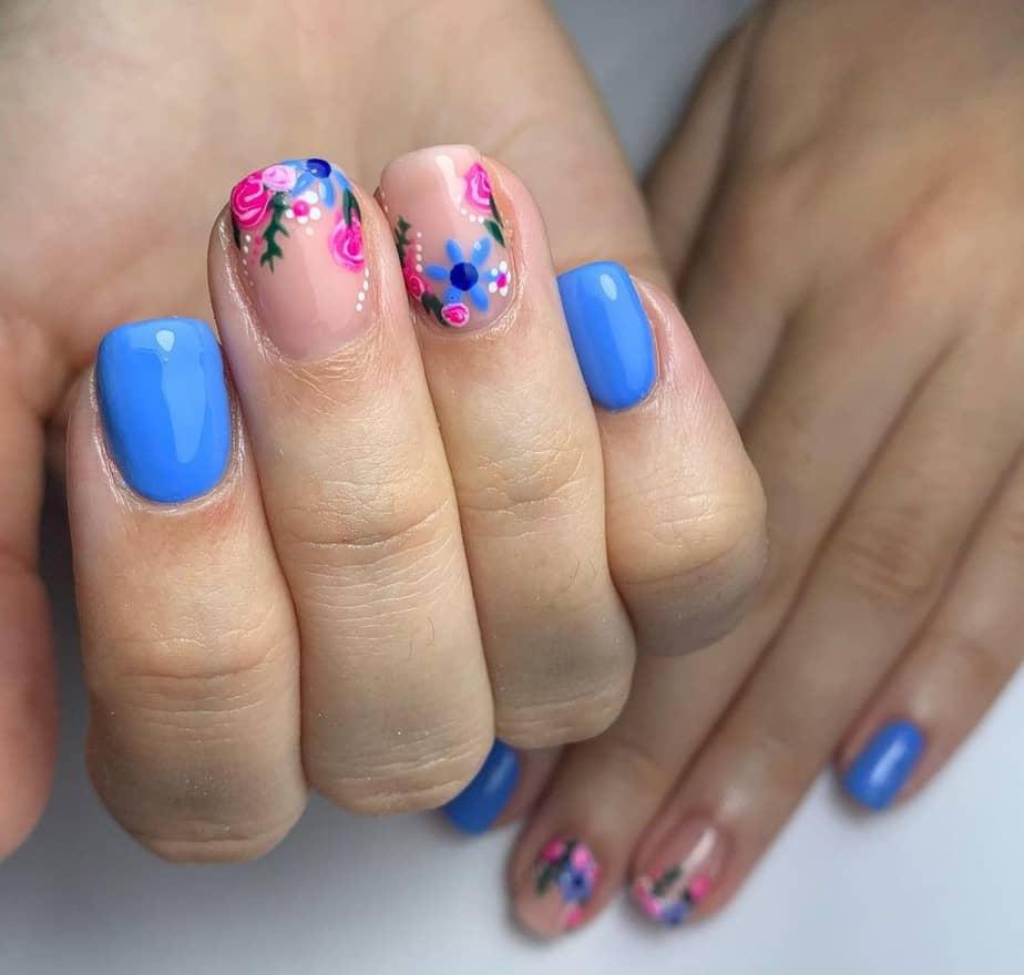 cute flower nails short