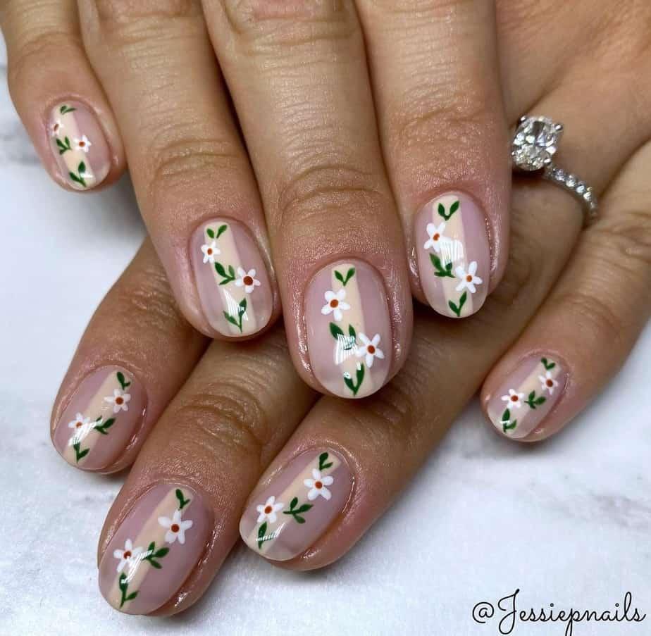 spring flower nails short