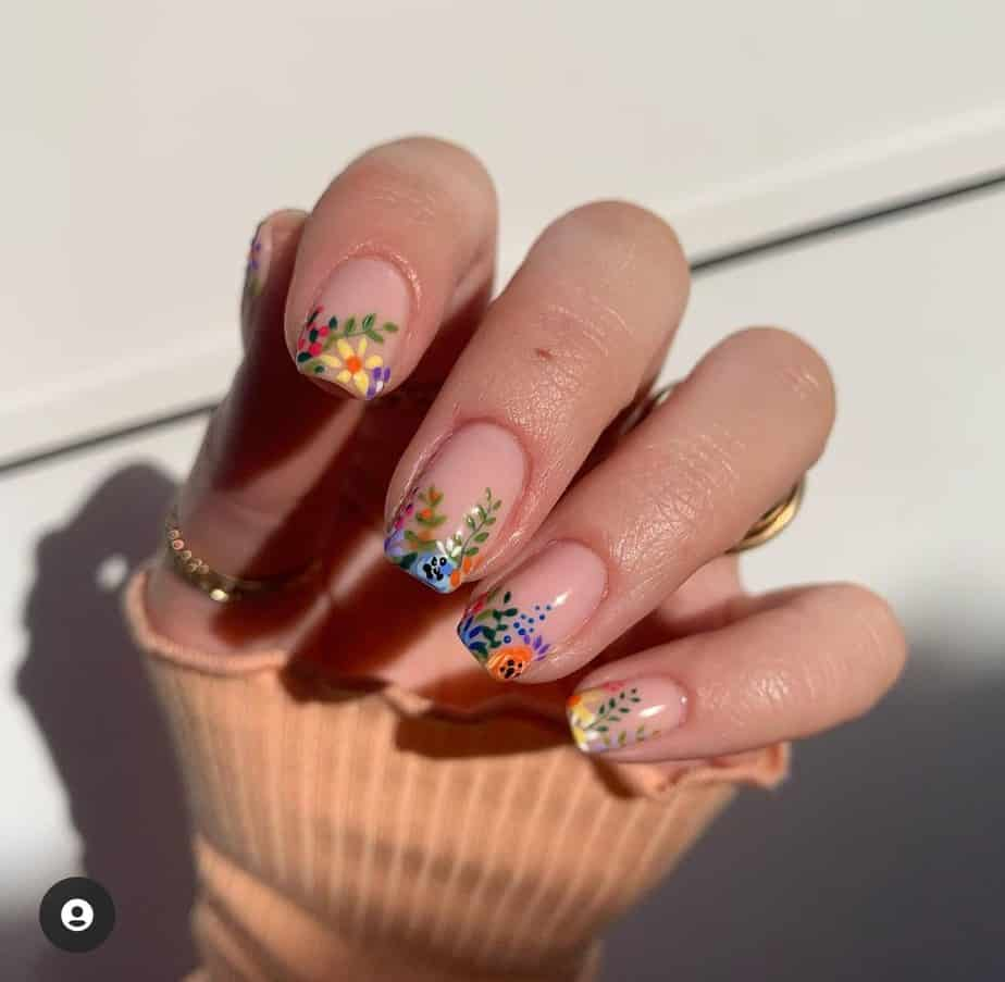 colorful flower nails spring