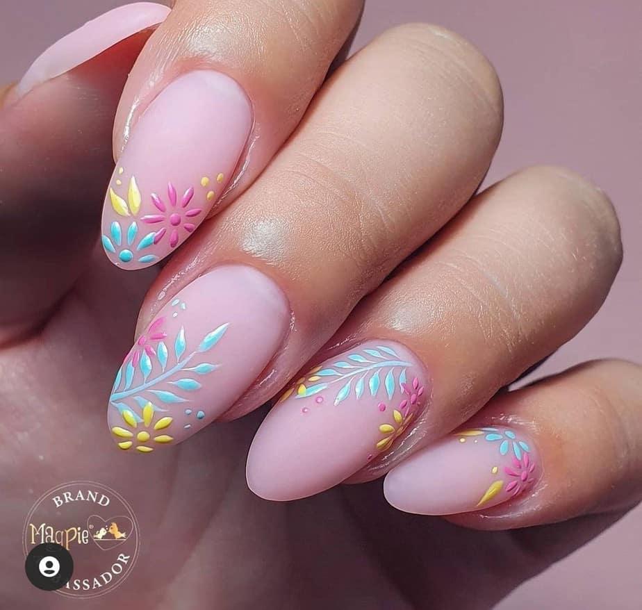 summer flower nails acrylic