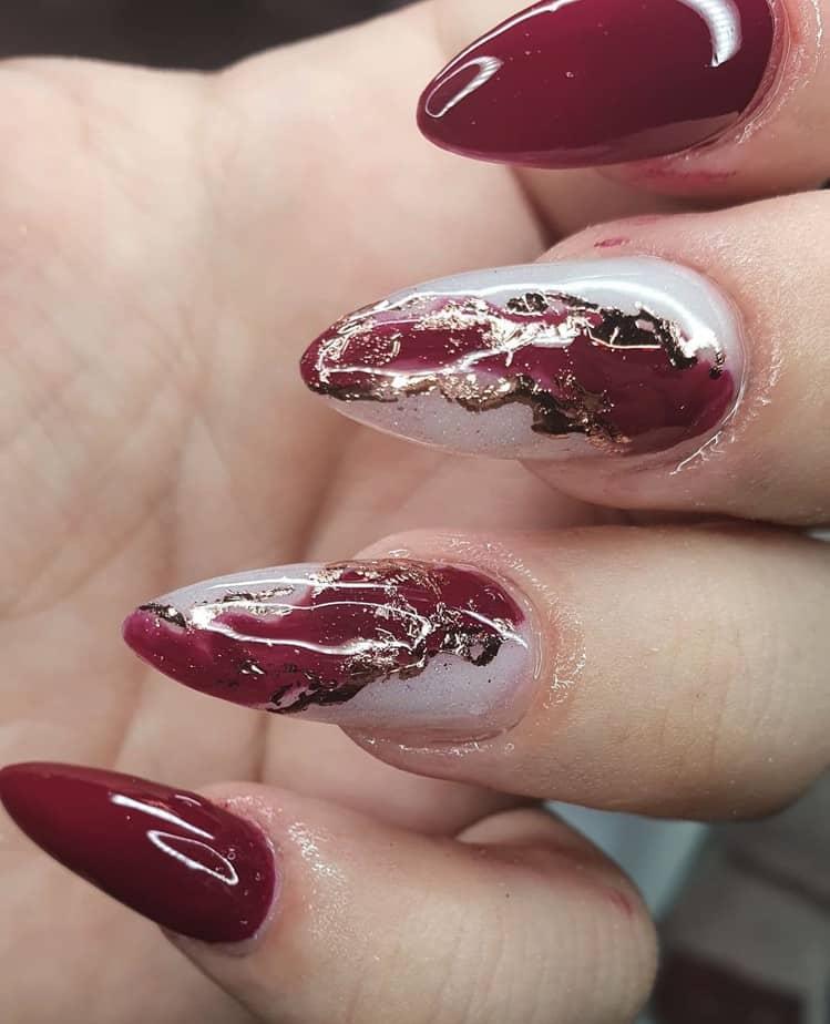 maroon nails design