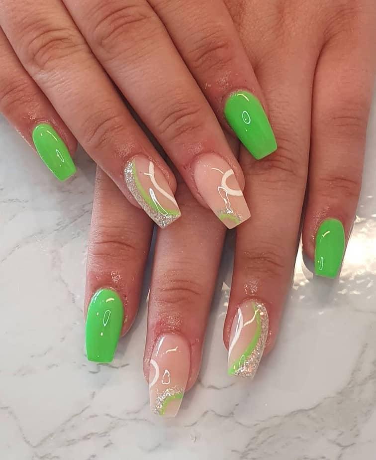 neon green nails design