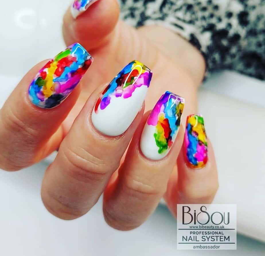 multicolored nails acrylic