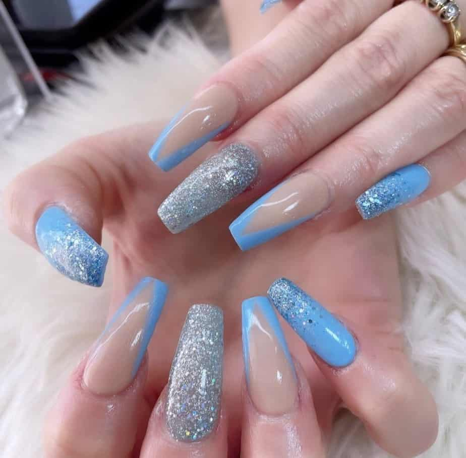 baby blue nails designs